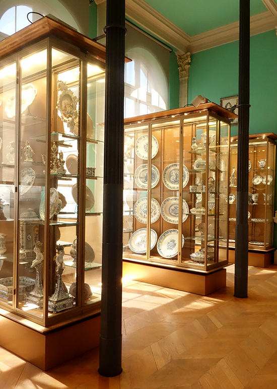 Display case of porcelain at the Musee de la Ceramique
