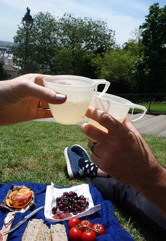 Drinking wine with our Paris picnic