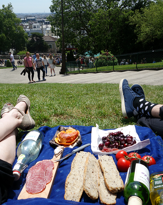 Picnicking on the lawn at Sacre Coeur