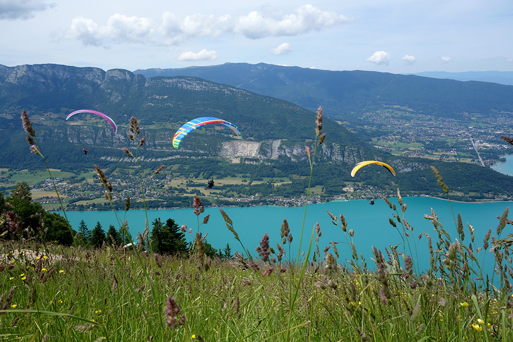 Paragliders floating over Lake Annecy