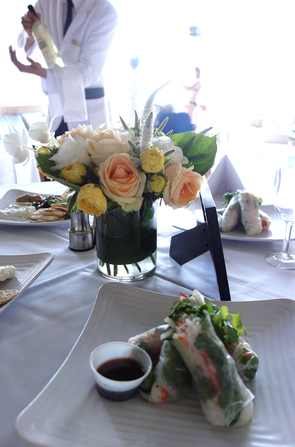 Poolside dining at Nob Hill Spa